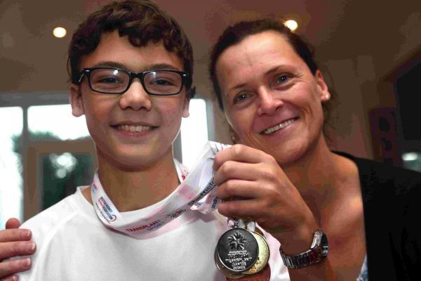 Lewis Brimble with his mum, Su